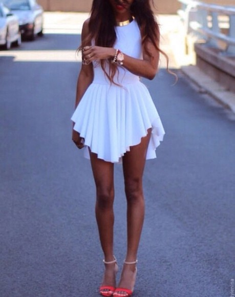 dress prom dress asymmetrical white white dress short prom dress pleated skirt high neck shoes