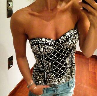 top black strapless sparkles summer top