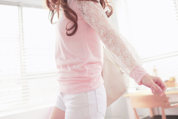 shirt lace lace shirt pink long sleeve shirt lace sleeves pink shirt
