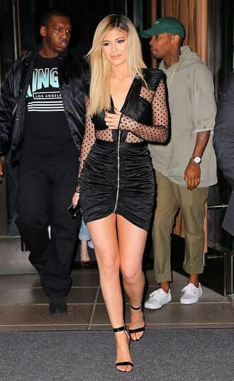 dress lace polka dots kylie jenner sandals mini dress shoes