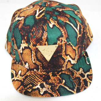 hat hype snake skin torquiose gold snake print triangle snapback