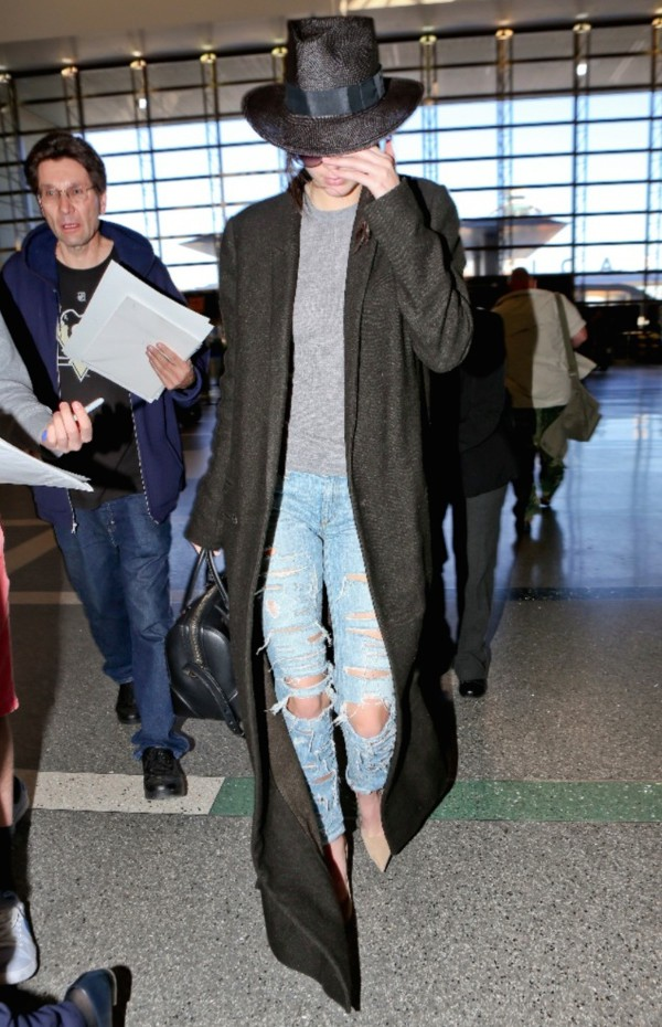 coat top jeans bag kendall jenner long coat hat