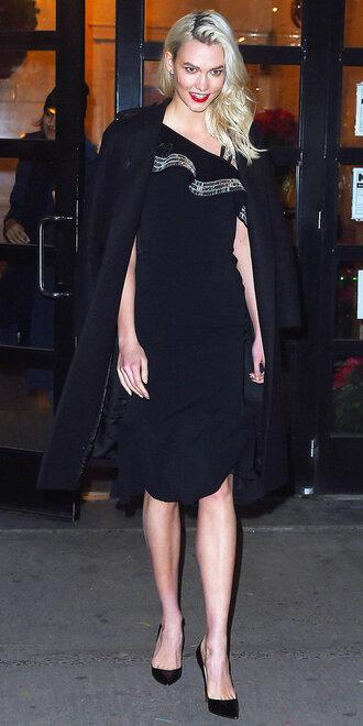 dress midi dress black dress karlie kloss model off-duty