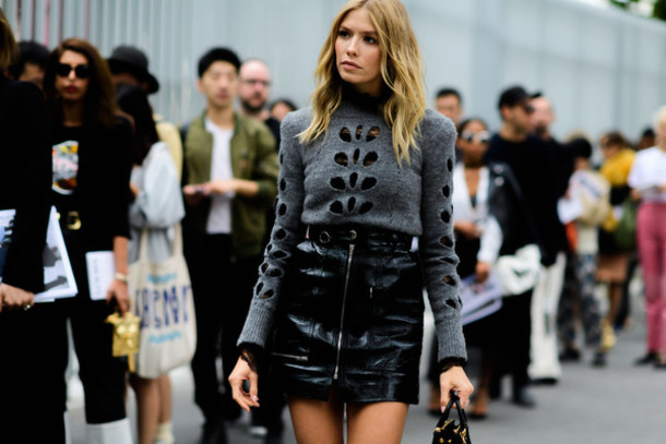 Fashion Week 2016 Streetstyle Black Leather Skirt - Shop for ...