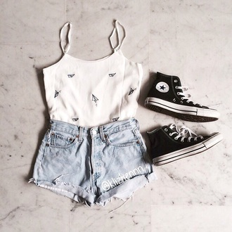 blouse tumblr tumblr outfit tumblr clothes shirt shorts converse shoes hipster