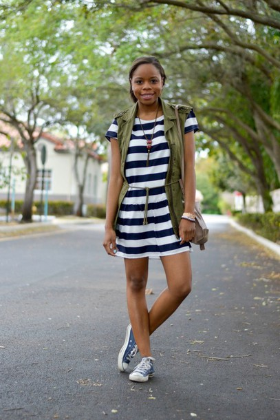 cha cha the fashion genius blogger striped dress army green jacket dress jacket shoes bag jewels