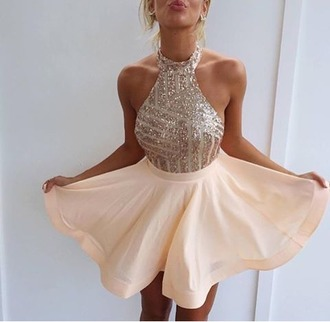 dress nude nude dress sequin dress sequins skater skirt skater dress halter neck halter dress baby pink short sparkly dress
