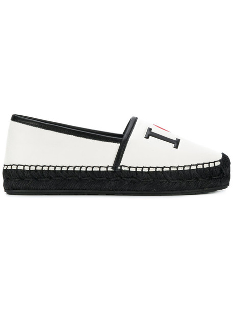 Dolce & Gabbana heart women espadrilles leather white shoes