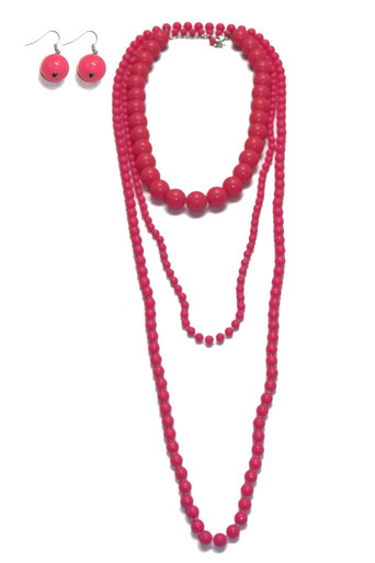 Ladies Vanessa Layered Bead Necklace with Earrings in Neon Pink | Pop Couture