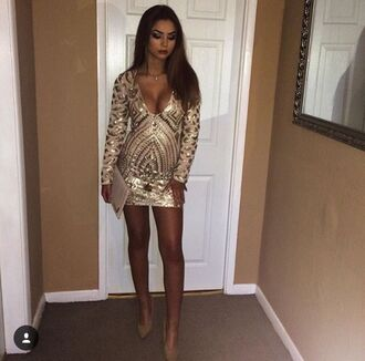 dress glamour luxury gold nude embellished embellished dress fashion style trendy hot sequins sequin dress