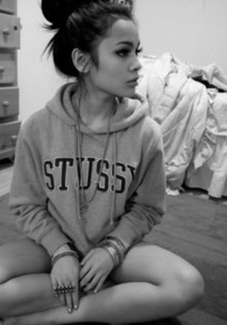 sweater grey black stussy love cute hipster tumblr outfit grey sweater lovegrey grey outfit sweater grey
