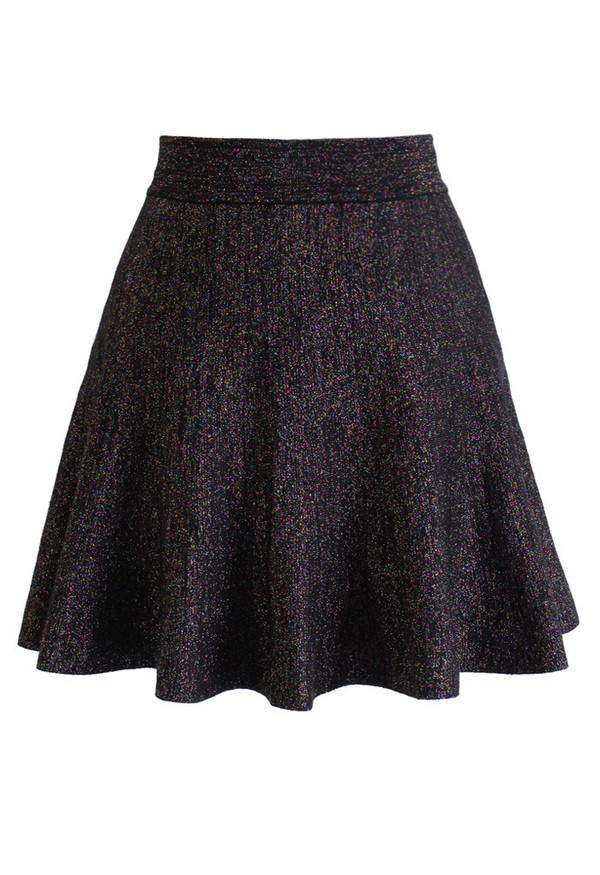 skirt chicwish glitter knitted skater skirt
