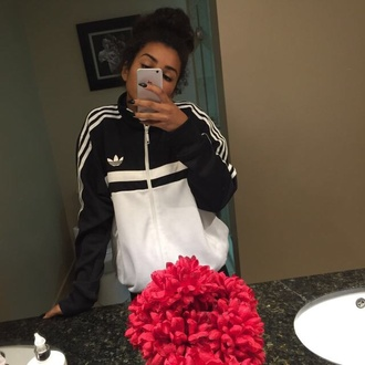 coat jacket adidas black and white zip up sportswear adidas jacket black white windbreaker bag swag tumblr black jacket white jacket adidas sweater