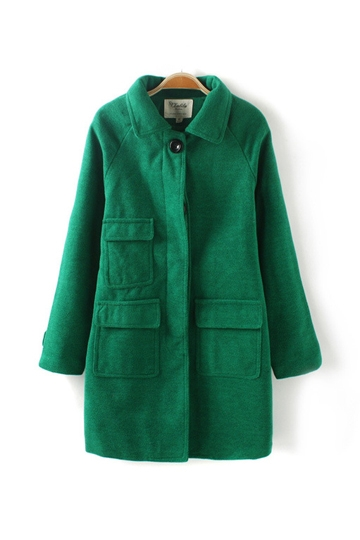 Pure Color Three Pockets Wool Coat [FEBK0392]- US$54.99 - PersunMall.com