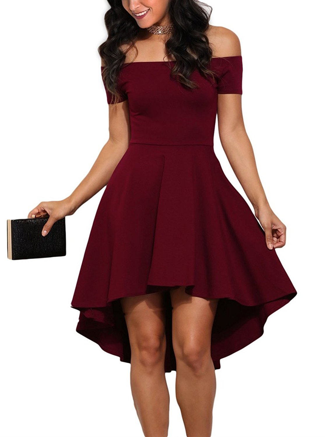 Sidefeel Women Off Shoulder Sleeve High Low Skater Dress at Amazon Women's Clothing store: