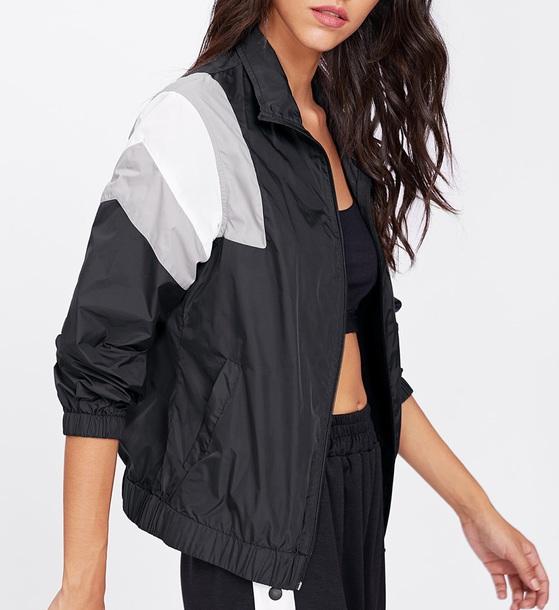 jacket girly black windbreaker zip zip up jacket