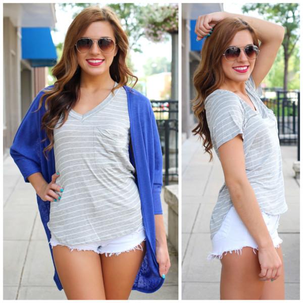 top grey pocket t-shirt stripes light grey cardigan shorts