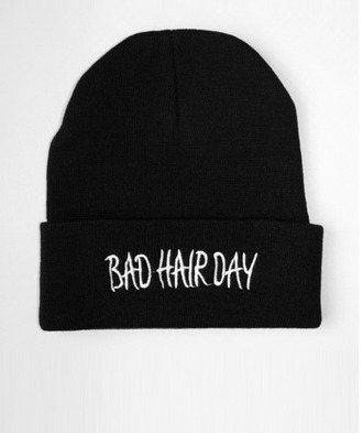 hat black beanie quote on it bad hair day hat