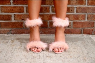 shoes faux fur fur heels high heels cute high heels high heel sandals strappy heels sandal heels ankle strap heels pink high heels pink pink shoes pastel pink baby pink blush pink light pink sandals cute sandals cute sexy sexy shoes pretty swag fashion fashionista style