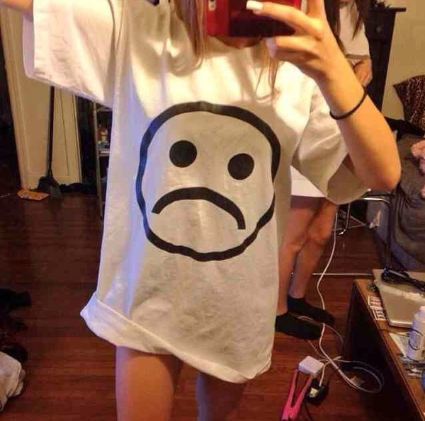 t-shirt white t-shirt oversized t-shirt dress sad boy