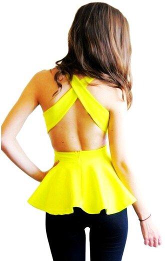 top peplum top neon yellow open back