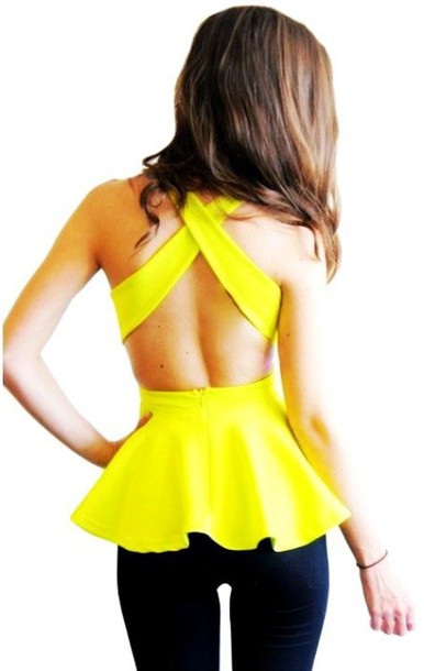 top peplum top neon yellow open back