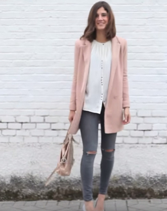jacket blazer pink long long jacket youtuber nice colorful long blazer