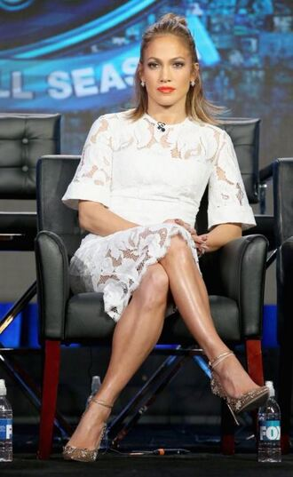 dress white lace dress white dress white jennifer lopez lace dress lace pumps shoes