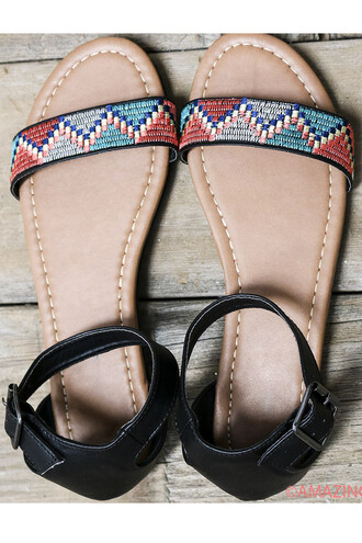shoes detail tribal pattern aztec summer beach amazinglace cute sandals flats black