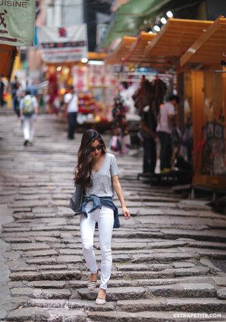 extra petite blogger jeans t-shirt shoes bag jacket