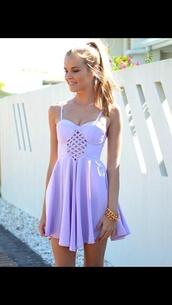 dress,white dress,lilac dress,dress purple cutout lilac lavender,cut-out,lavendar,purple,pastel,pastel purple,hipster,blonde hair,purple dress,spaghetti strap,summer dress,pastel goth