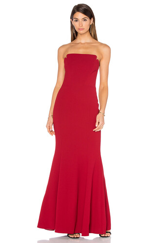 gown strapless red