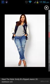 jeans,plus size,boyfriend jeans,ripped,jacket,plus size jeans