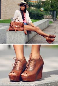 ZARA Peep Toe Leather Lace Up Brogue Heel Wedge Shoe Size 6 Vintage style retro | eBay