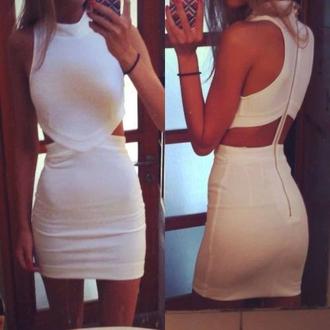 dress sexy white dress zip cut-out dress