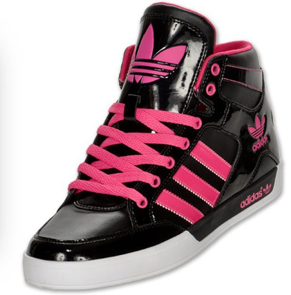 Shoes: adidas shoes, black shoes, neon pink shoes, high ...