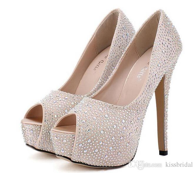 Cheap Bridal Shoes - Discount Rhinestone Peep Toe Heels Wedding Shoes Champagne Red Online with $61.74/Piece | DHgate