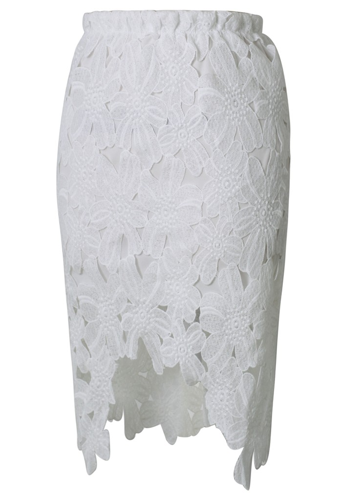 White Asymmetrical Lace Skirt - Sheinside.com