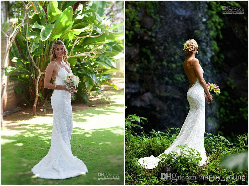 Discount train lace backless wedding dresses fashion summer garden online with $118.92/piece