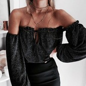 top,noir,black,off the shoulder,off the shoulder top,black top