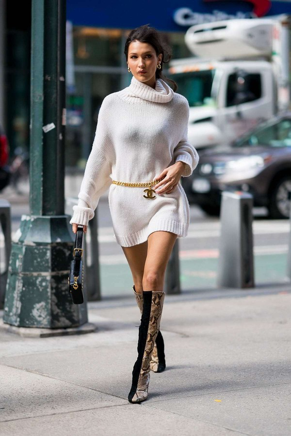 sweater belt sweater dress bella hadid model off-duty fall outfits fall sweater boots victoria's secret model