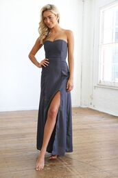 charcoal gray dress,gray maxi,strapless maxi dress,sweetheart neckline,cinched waist dress,side front split dress,ustrendy.com,dress
