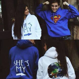 sweater jumper jacket blue white sweatshirt superman hoodie couple sweaters bag couple jackets matching couples shirt couple swetshirts matching set world writing superman hoodie white blue sweater hero world couple cute hoodie boyfriend love it!