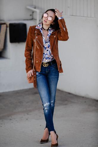 fit fab fun mom blogger blouse jacket jeans belt shoes bag sunglasses jewels brown jacket gucci belt skinny jeans shoulder bag animal print high heels