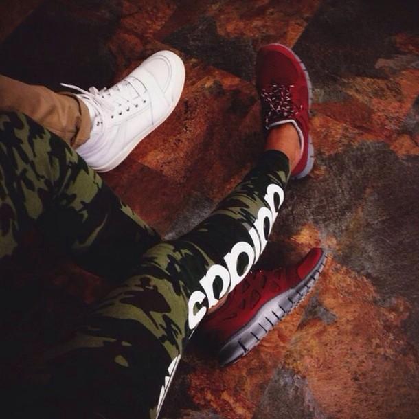 shoes nike leggings run adidas military style sportswear fashion nike run red pants