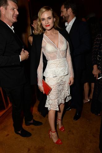 dress white lace lace dress sandals midi dress diane kruger