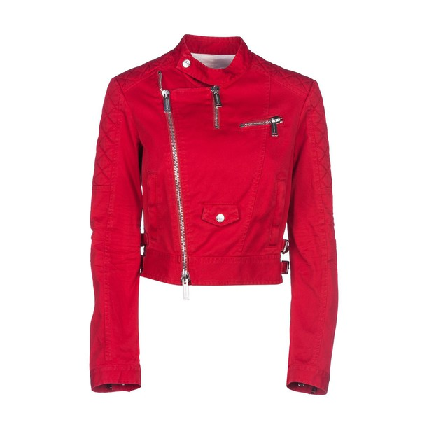jacket biker jacket cropped red