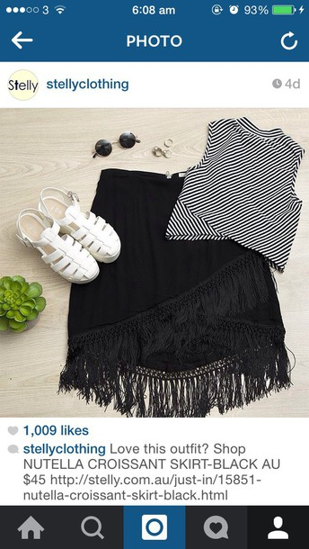 skirt fringe skirt crop tops