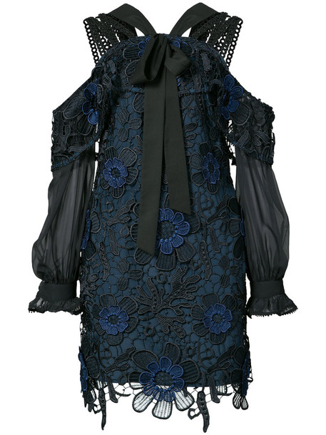 dress lace dress women lace blue