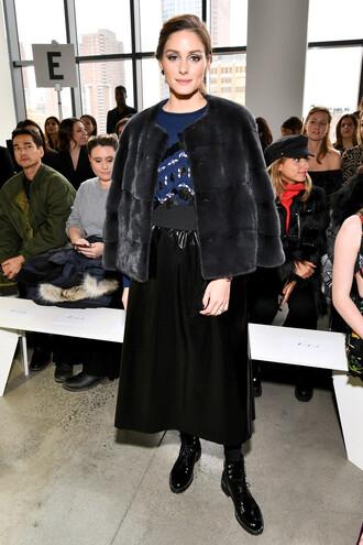 jacket fur fur jacket blogger fashion week ny fashion week 2018 fashion week 2018 skirt olivia palermo